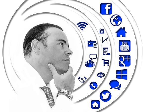 man looking at icons